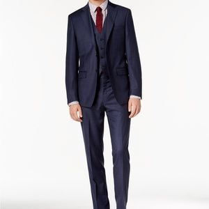 New Calvin Klein Slim Fit Blue Check Stretch Suit